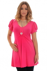 PRE ORDER: Darling Diamonte Stud Tunic Top - Cerise