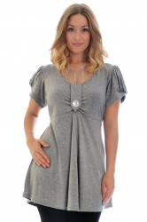 PRE ORDER: Darling Diamonte Stud Tunic Top - Grey