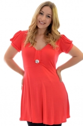 PRE ORDER: Darling Diamonte Stud Tunic Top - Coral