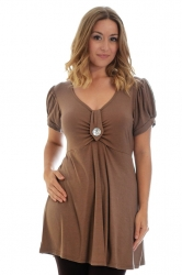 PRE ORDER: Darling Diamonte Stud Tunic Top - Mocha