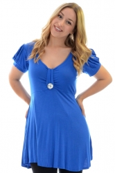 PRE ORDER: Darling Diamonte Stud Tunic Top - Royal Blue