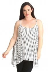 PRE ORDER: Lovely Loose Fit Polka Dot Cami - White & Black