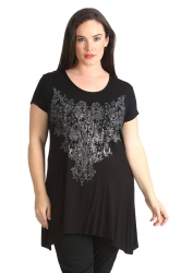 PRE ORDER: Stylish Glitter Bead Motif Sharkbite Top - Black