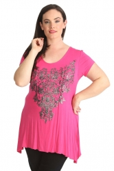 PRE ORDER: Stylish Glitter Bead Motif Sharkbite Top - Cerise
