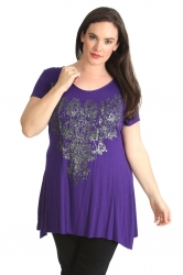 PRE ORDER: Stylish Glitter Bead Motif Sharkbite Top - Purple