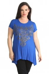 PRE ORDER: Stylish Glitter Bead Motif Sharkbite Top - Royal Blue