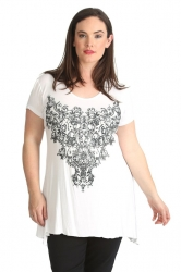 PRE ORDER: Stylish Glitter Bead Motif Sharkbite Top - White