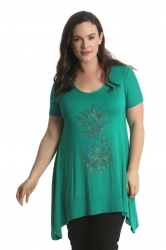 PRE ORDER: Quirky Pineapple Stud Sharkbite Plus Size Top - Green