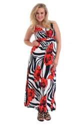 PRE ORDER: Fabulous Bold Zebra Poppy Print Maxi Dress