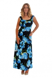 PRE ORDER: Fabulous Floral Print Plus Size Maxi Dress - Blue