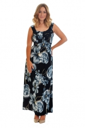 PRE ORDER: Fabulous Floral Print Plus Size Maxi Dress - Grey