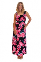 PRE ORDER: Fabulous Floral Print Plus Size Maxi Dress - Pink