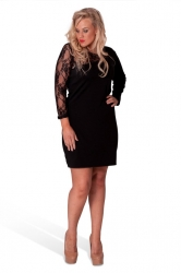 PRE ORDER: Chic Short Asymmetric Lace Shoulder Dress - Black