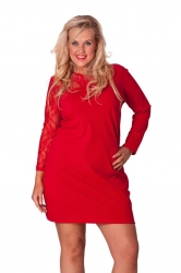 PRE ORDER: Chic Short Asymmetric Lace Shoulder Dress - Red
