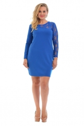 PRE ORDER: Chic Short Asymmetric Lace Shoulder Dress - RoyalBlue