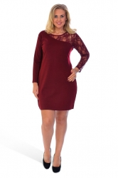 PRE ORDER: Chic Short Asymmetric Lace Shoulder Dress - Wine