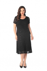 PRE ORDER: Elegant Midi Length Lace Sequin Shift Dress - Black