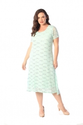 PRE ORDER: Elegant Midi Length Lace Sequin Shift Dress - Mint