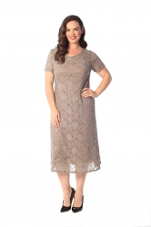 PRE ORDER: Elegant Midi Length Lace Sequin Shift Dress - Mocha