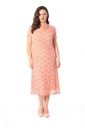 PRE ORDER: Elegant Midi Length Lace Sequin Shift Dress - Peach