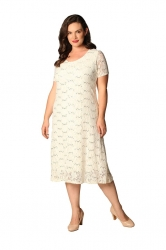 PRE ORDER: Elegant Midi Length Lace Sequin Shift Dress - Cream