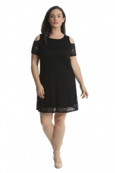 PRE ORDER: Sexy Cold Shoulder Lace Dress/Tunic - Black