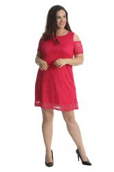 PRE ORDER: Sexy Cold Shoulder Lace Dress/Tunic - Cerise