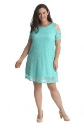 PRE ORDER: Sexy Cold Shoulder Lace Dress/Tunic - Mint