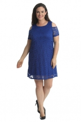 PRE ORDER: Sexy Cold Shoulder Lace Dress/Tunic - Royal Blue