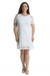 PRE ORDER: Sexy Cold Shoulder Lace Dress/Tunic - White