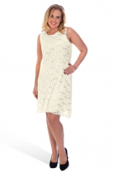 PRE ORDER: Elegant Short Length Lace Sequin Shift Dress - Cream