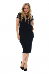 PRE ORDER: Elegant Lace Top Overlay Dress - Black