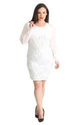 PRE ORDER: Glamorous Chiffon Sleeve Sequin Sheath Dress - White