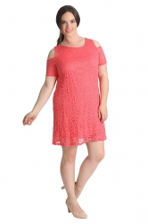 PRE ORDER: Sexy Cold Shoulder Lace Dress/Tunic - Coral