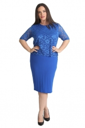 PRE ORDER: Elegant Lace Top Overlay Dress - Royal Blue