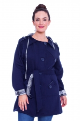 PRE ORDER: Stylish Hooded Fleece Coat w Reversible Belt - Navy