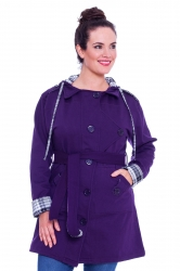 PRE ORDER: Stylish Hooded Fleece Coat w Reversible Belt - Purple