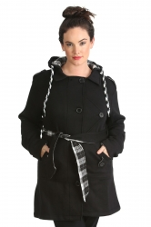 PRE ORDER: Stylish Hooded Fleece Coat w Reversible Belt - Black