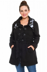 PRE ORDER: Stylish Tartan Detail Hooded Duffle Coat - Black