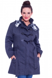 PRE ORDER: Stylish Tartan Detail Hooded Duffle Coat - Charcoal