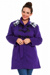 PRE ORDER: Stylish Tartan Detail Hooded Duffle Coat - Purple