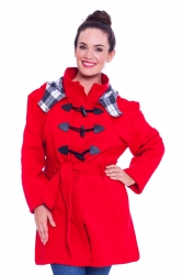 PRE ORDER: Stylish Tartan Detail Hooded Duffle Coat - Red