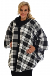 PRE ORDER: On-Trend Faux Fur Collar Tartan Cape Jacket - White