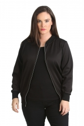 PRE ORDER: Cute Casual Plus Size Bomber Jacket - Black