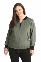 PRE ORDER: Cute Casual Plus Size Bomber Jacket - Khaki
