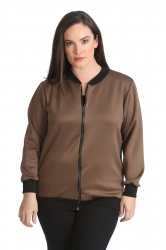 PRE ORDER: Cute Casual Plus Size Bomber Jacket - Mocha