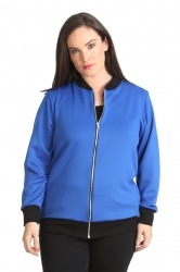 PRE ORDER: Cute Casual Plus Size Bomber Jacket - Royal Blue