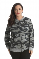 PRE ORDER: Cute Plus Size Camo Bomber Jacket - Grey