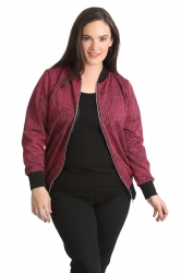 PRE ORDER: Chic Textured Jacquard Bomber Jacket - Wine
