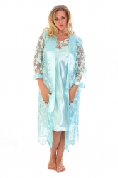 PRE ORDER: Glitter Floral Satin 2 in 1 Nightsuit - Baby Blue